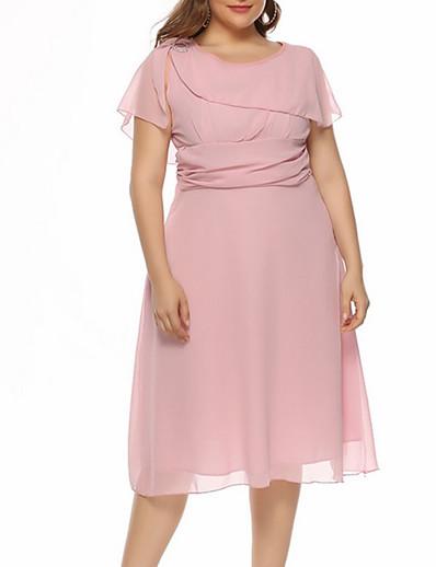 cheap PLUS SIZE-Women's A-Line Dress Knee Length Dress Short Sleeve Solid Color Summer Plus Size Work 2021 Purple Blushing Pink Wine Dusty Blue Beige Gray Light Blue S M L XL XXL 3XL 4XL