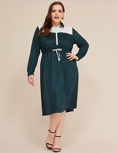 cheap Vintage Dresses-Women's Plus Size Shirt Dress Knee Length Dress - Long Sleeve Color Block Fall V Neck Shirt Collar Casual Vintage 2020 Green XL XXL XXXL XXXXL XXXXXL