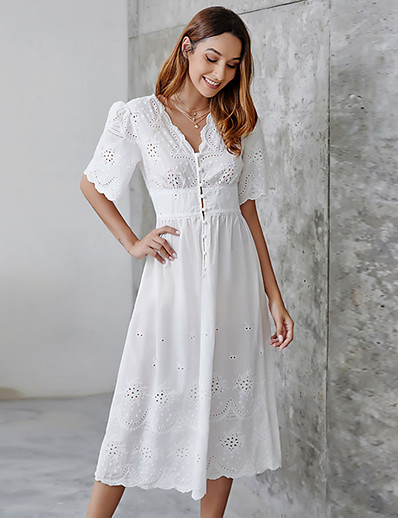cheap 06/22/2020-Women's Sheath Dress Knee Length Dress - Half Sleeve Solid Color Summer Casual 2020 White S M L XL XXL