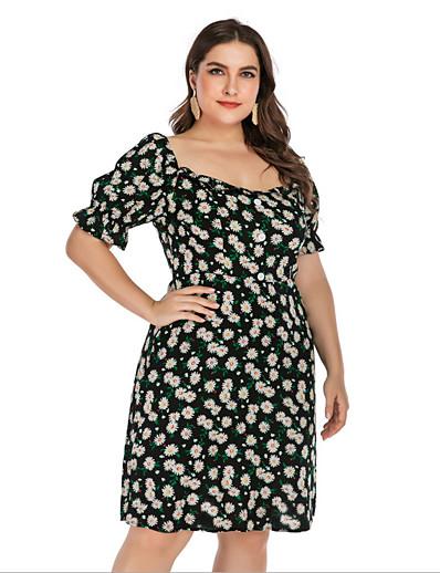 cheap Vintage Dresses-Women's Plus Size A-Line Dress Knee Length Dress - Short Sleeves Floral Summer Casual Vintage 2020 Black L XXXL XXXXL