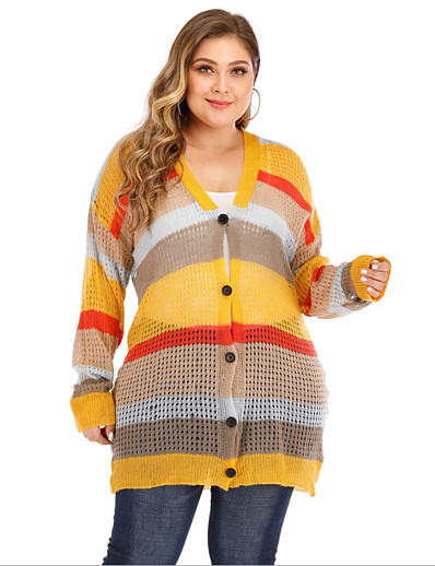 cheap Plus Size Sweaters-Women's Striped Color Block Cardigan Long Sleeve Plus Size Loose Oversized Sweater Cardigans V Neck Yellow