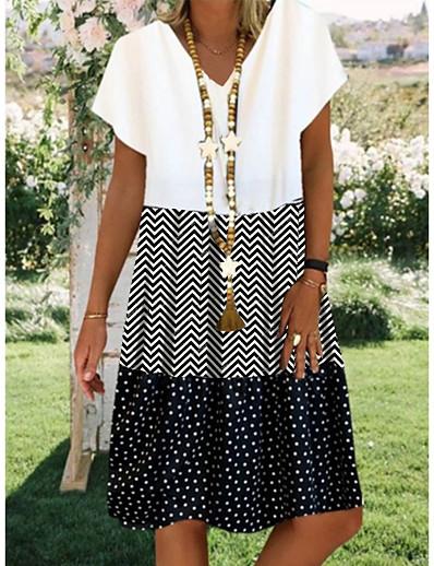 cheap Dresses-Women's Shift Dress Knee Length Dress Black Short Sleeve Polka Dot Print Summer V Neck Hot Casual 2021 M L XL XXL 3XL