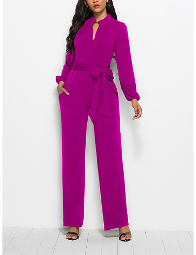 cheap Jumpsuits & Rompers-Women's Ordinary Business Shirt Collar Black Red Wine Jumpsuit Solid Colored Drawstring / Wide Leg