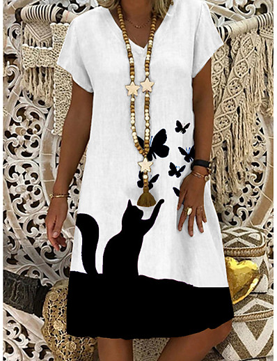 cheap NEW IN-Women's Shift Dress Knee Length Dress - Short Sleeve Butterfly Cat Animal Summer V Neck Casual Daily 2020 White M L XL XXL XXXL