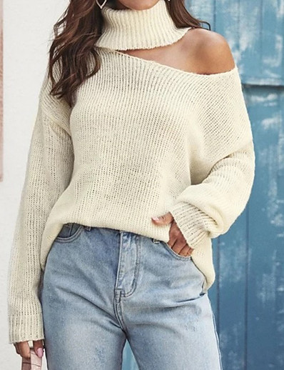 cheap TOPS-Women's Solid Colored Long Sleeve Pullover Sweater Jumper, Turtleneck Khaki S / M / L