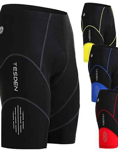 cheap SPORTSWEAR-TESDEN Men's Cycling Padded Shorts Nylon Coolmax® Spandex Black Yellow Red Stripes Bike Shorts Padded Shorts / Chamois Breathable 3D Pad Quick Dry Sports Stripes Mountain Bike MTB Road Bike Cycling
