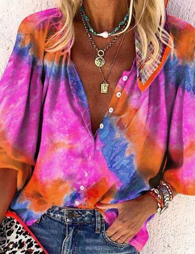 cheap TOPS-Women's Shirt Tie Dye Long Sleeve Shirt Collar Tops Basic Top Fuchsia Orange Green