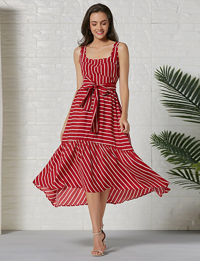 cheap Dresses-Women's Swing Dress Knee Length Dress - Sleeveless Striped Bow Summer Casual 2020 Red S M L XL XXL
