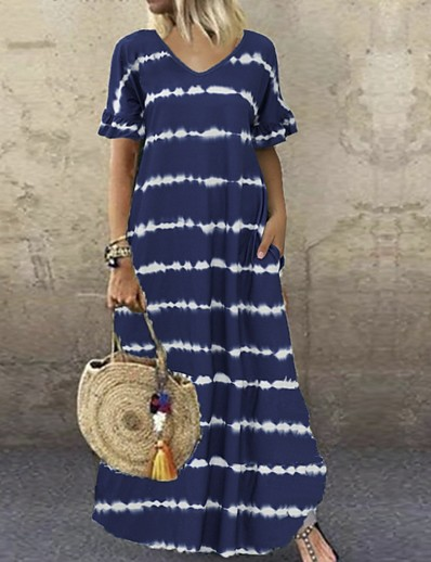 cheap Maxi Dresses-Women's Shift Dress Maxi long Dress - Short Sleeve Striped Summer V Neck Casual Hot 2020 Black Purple Wine Dusty Blue Brown Navy Blue Gray S M L XL XXL 3XL 4XL