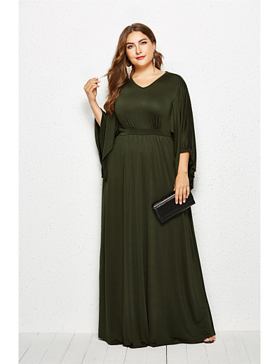 cheap Plus Size Dresses-Women's Swing Dress Maxi long Dress - Long Sleeve Solid Color Summer Fall V Neck Casual Boho Going out 2020 Black Army Green Royal Blue Navy Blue XL XXL XXXL XXXXL
