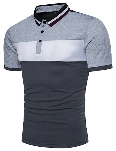 cheap Men's Tops-Men's Polo Color Block Basic Short Sleeve Daily Tops Cotton Active Red Yellow Light gray