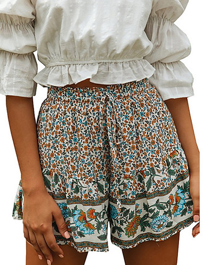 cheap Bottoms-Women's Basic Daily Loose Shorts Pants - Floral Brown S / M / L