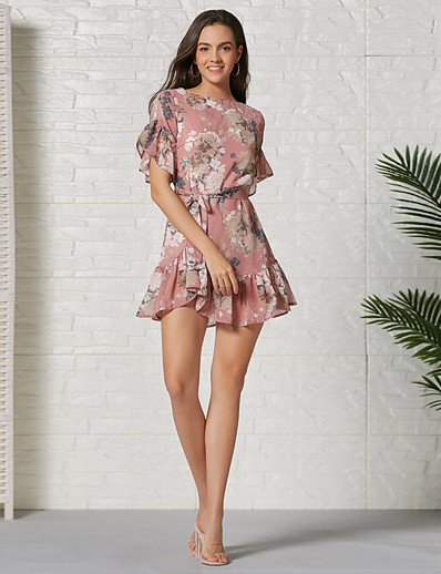 cheap 06/22/2020-Women's Sheath Dress Short Mini Dress - Short Sleeves Floral Summer Casual Sexy 2020 Blushing Pink S M L XL XXL