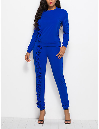 cheap JUMPSUITS & ROMPERS-Women's Basic Solid Colored Two Piece Set Set Pant Ruffle Tops
