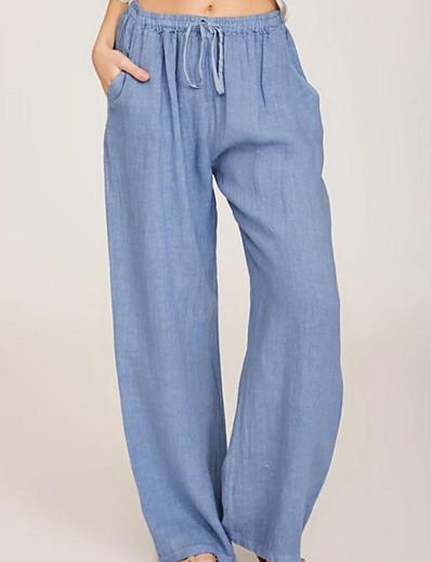 abordables Bas pour femmes-Femme basique Ample Chino Pantalon Couleur Pleine Noir Bleu Bleu Marine
