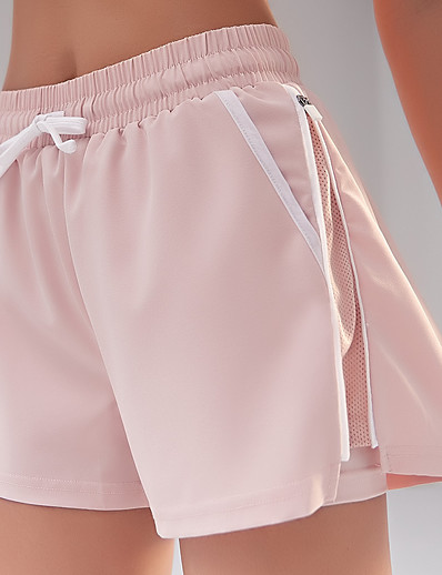 cheap Running, Jogging & Walking-Women's Running Shorts Yoga Shorts 2 in 1 Liner Shorts Bottoms Quick Dry Pink Dark Navy White Yoga Fitness Gym Workout Summer Sports Activewear High Elasticity / Athletic