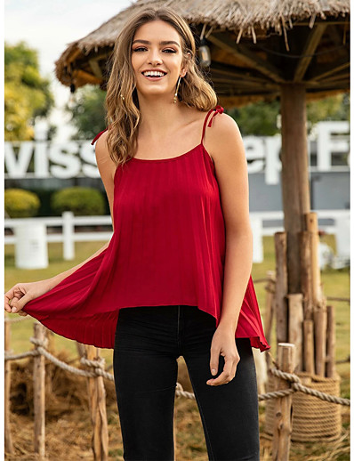 cheap Tank Tops-Women's Blouse Solid Colored Tops Boat Neck Daily Summer Black Blue Red S M L XL