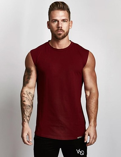 cheap Running, Jogging & Walking-Men's Sleeveless Running Tank Top Singlet Top Athleisure Summer Cotton Breathable Soft Sweat Out Fitness Gym Workout Performance Running Training Sportswear Solid Colored Normal White Black Red Army