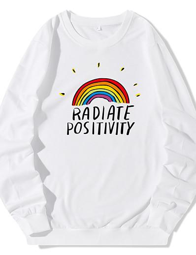 cheap Hoodies & Sweatshirts-Women's Hoodie Sweatshirt Rainbow Daily Casual Hoodies Sweatshirts  Blue Yellow Blushing Pink
