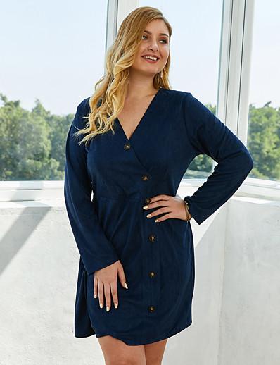 abordables Robes grandes tailles-Femme Robe Trapèze Robe Longueur Genou - Manches Longues Couleur unie Printemps Eté Col en V Grandes Tailles Simple 2020 Bleu Roi XL XXL 3XL 4XL
