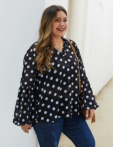 cheap Plus Size Tops-Women's Plus Size Blouse Shirt Polka Dot Long Sleeve Print V Neck Tops Loose Basic Basic Top Black
