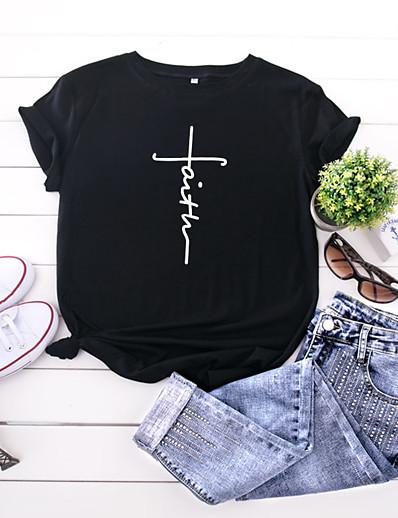 cheap TOPS-Women's T-shirt Letter Print Round Neck Tops 100% Cotton Basic Basic Top Black Yellow Blushing Pink