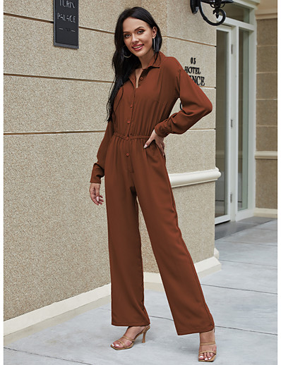 cheap Jumpsuits & Rompers-Women's Ordinary Shirt Collar Green Brown Jumpsuit Solid Colored