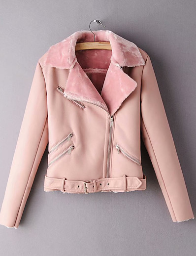 cheap Furs & Leathers-Women's Winter Faux Leather Jacket Short Solid Colored Daily Black Blushing Pink S M L / Slim