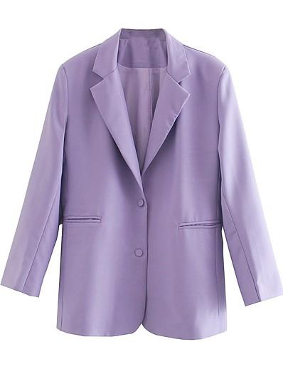 cheap Blazers-Women's Notch lapel collar Blazer Solid Colored Purple S / M / L