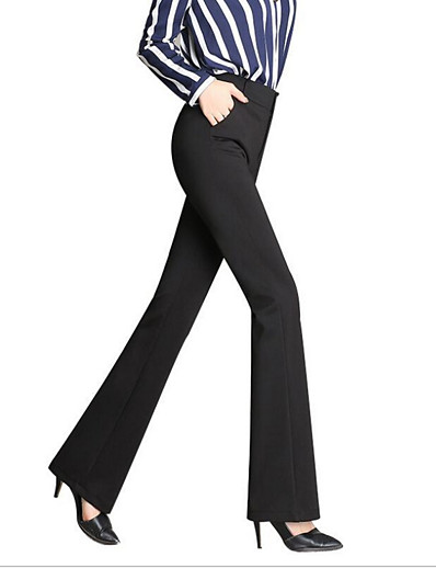 abordables Pantalons et Jupes Femme-Femme basique Ample Quotidien Pour Bottes (Bootcut) Pantalon Couleur Pleine Noir Vin Bleu Marine