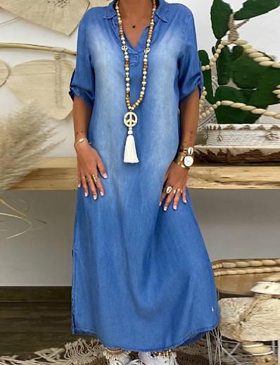 cheap Plus Size Dresses-Women's Denim Dress Maxi long Dress - Half Sleeve Summer V Neck Plus Size Casual 100% Cotton Loose 2020 Blue M L XL XXL XXXL