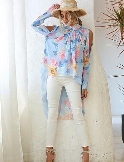 cheap Blouses & Shirts-Women's Blouse Shirt Floral Flower Long Sleeve Round Neck Tops White Black Blue