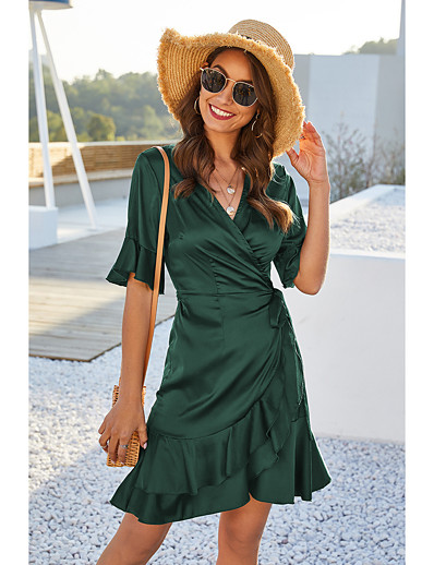 cheap Elegant Dresses-Women's Wrap Dress Short Mini Dress - Short Sleeve Solid Color Ruffle Summer V Neck Work Elegant 2020 Blue Wine Green S M L XL