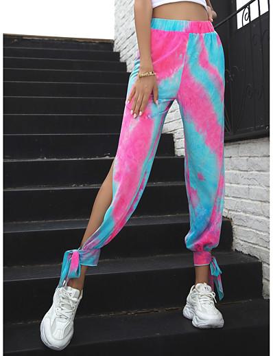 abordables Bas-Femme Ample Chino Pantalon Teinture par Nouage Rose Claire