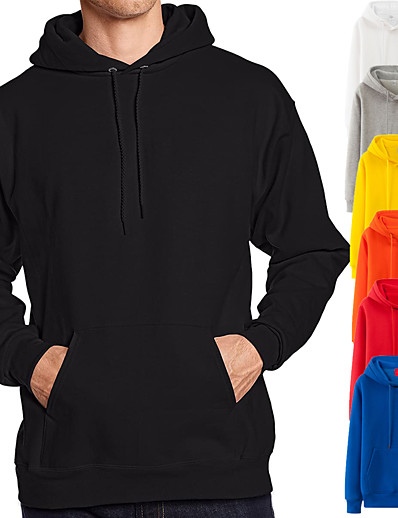 cheap Sports Athleisure-Men's Hoodie Sweatshirt Hoodies Pullover Hoody Black White Blue Pink Pure Color Pocket Drawstring Cowl Neck Fleece Solid Color Cool Sport Athleisure Top Long Sleeve Breathable Soft Comfortable