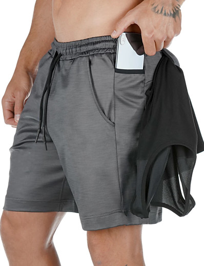 cheap Running, Jogging & Walking-Men's Running Shorts Athleisure Bottoms Towel Loop Drawstring Fitness Gym Workout Performance Running Training Breathable Quick Dry Soft Normal Sport White Black Grey / Micro-elastic