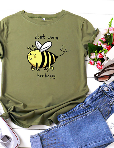 cheap TOPS-Women's T-shirt Animal Letter Print Round Neck Tops 100% Cotton Basic Basic Top White Yellow Blushing Pink