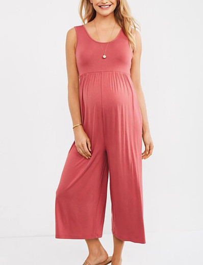 cheap JUMPSUITS & ROMPERS-Women's Plus Size Black Blushing Pink Loose Jumpsuit Solid Colored / Wide Leg