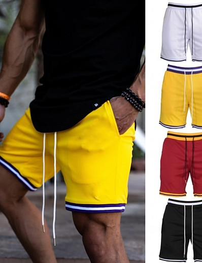 cheap Running, Jogging & Walking-Men's Running Shorts Bermuda Shorts Athleisure Bottoms Drawstring Summer Fitness Gym Workout Performance Running Training Quick Dry Breathable Soft Normal Sport Black / Red Yellow Red White Black