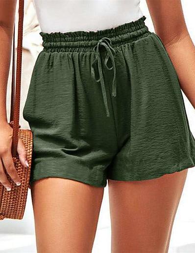 cheap Women's Bottoms-Women's Loose Wide Leg Pants Solid Colored Black Green