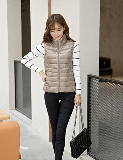 cheap Down& Parkas-Women's Vest Parka Solid Colored White Duck Down Polyester White / Black / Red M / L / XL