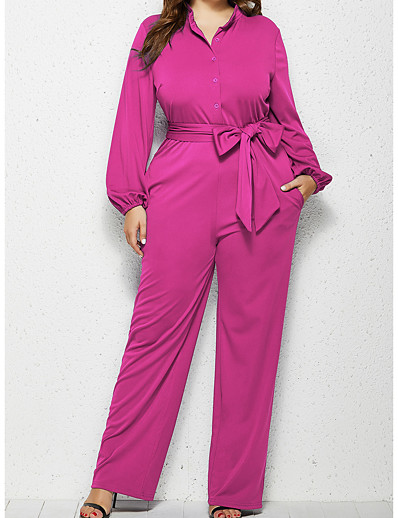 cheap JUMPSUITS & ROMPERS-Women's Plus Size Basic Off Shoulder Shirt Collar Black Red Fuchsia Loose Jumpsuit Solid Colored Lace up / Wide Leg