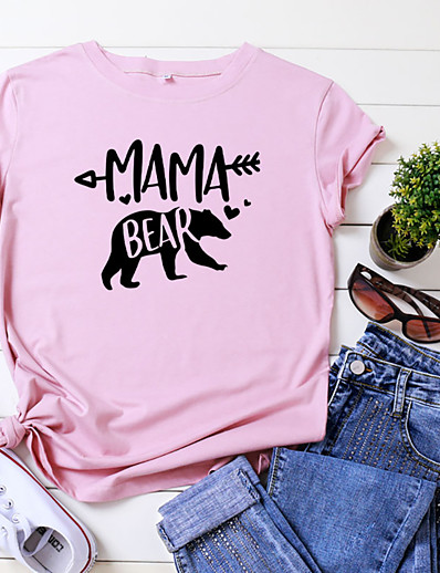 cheap Tees & T Shirts-Women's Mom T-shirt Animal Letter Print Round Neck Tops 100% Cotton Basic Basic Top White Black Yellow