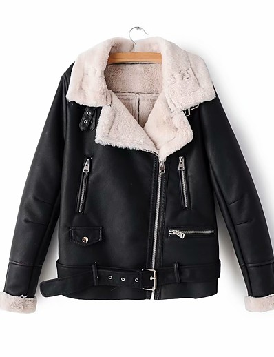 cheap Furs & Leathers-Women's Winter Faux Leather Jacket Regular Color Block Daily Basic Black Red Beige S M L