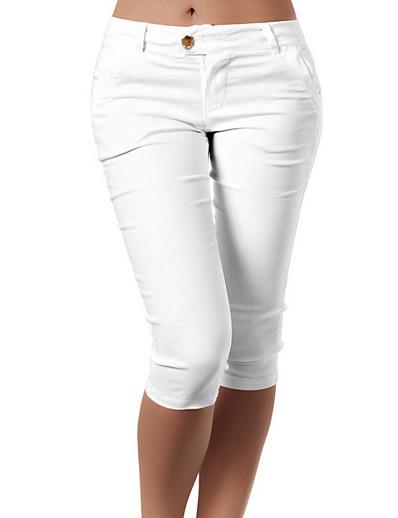 abordables Shorts pour femmes-Femme basique Bureau / Carrière Quotidien Short Pantalon Couleur Pleine Classique Blanche Noir Bleu Kaki Vert