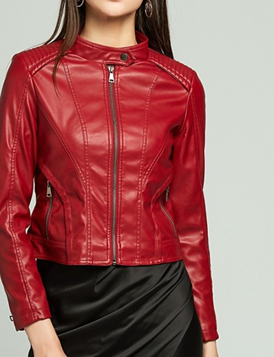cheap Jackets-Women's Leather Jacket Daily Regular Solid Colored Black / Red / Yellow S / M / L
