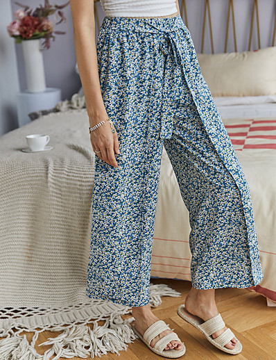 cheap Bottoms-Women's Basic Loose Daily Wide Leg Pants Print Print High Waist Blue Yellow