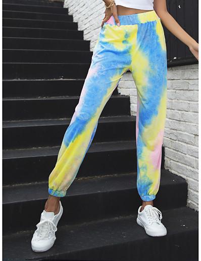 abordables Bas-Femme Ample Chino Pantalon Teinture par Nouage Violet Jaune Orange