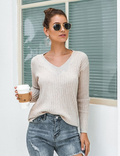 cheap Sweaters & Cardigans-Women's Solid Colored Pullover Long Sleeve Sweater Cardigans V Neck Winter Blue Khaki