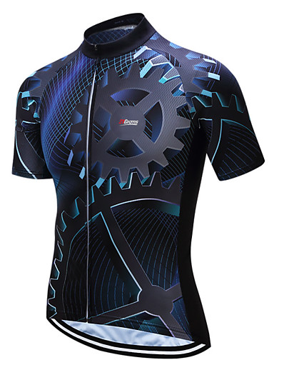cheap Cycling-21Grams Men's Short Sleeve Cycling Jersey Coolmax® Blue / Black Bike Jersey Top Mountain Bike MTB Road Bike Cycling Moisture Wicking Limits Bacteria Sports Clothing Apparel / Stretchy / SBS Zipper